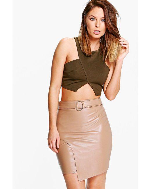 Boohoo | Brown Asha D Ring Leather Look Mini Skirt | Lyst