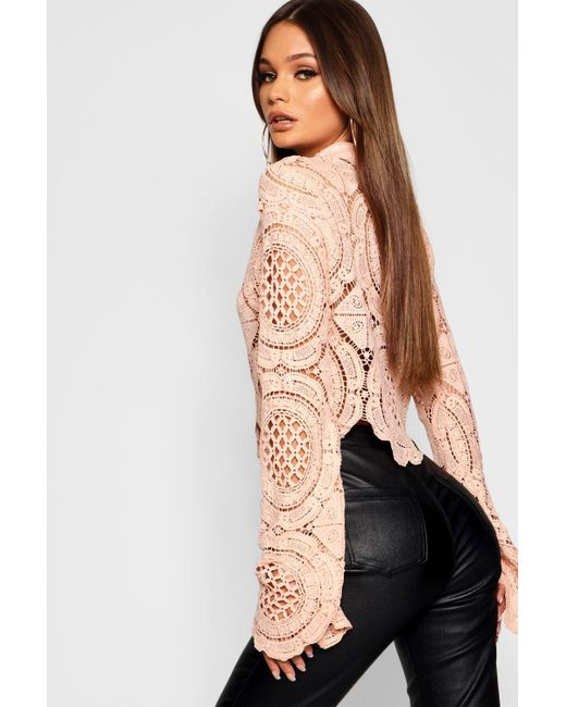 a1f1e8fd5de ... Boohoo - Natural Turtle Neck Crochet Lace Crop - Lyst