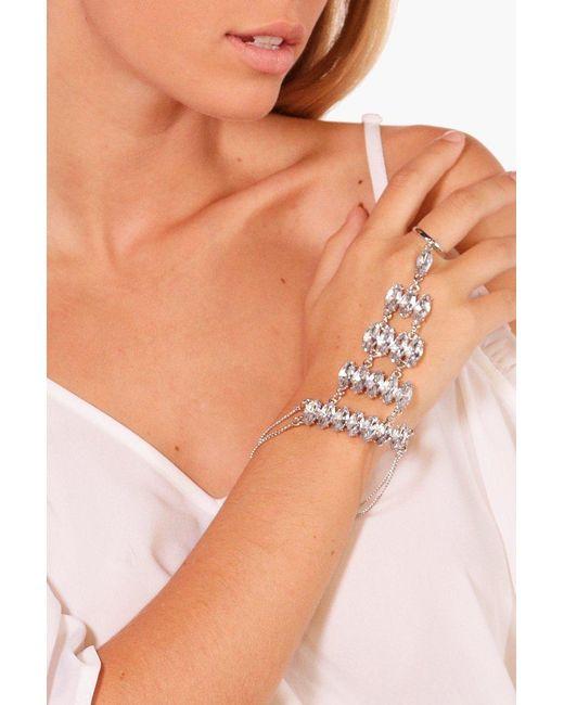 Boohoo | Metallic Statement Diamante Hand Harness | Lyst