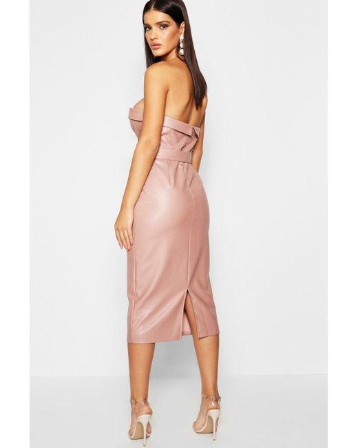 8367ca291cc8 ... Boohoo - Multicolor Pu Belted Bandeau Midi Dress - Lyst