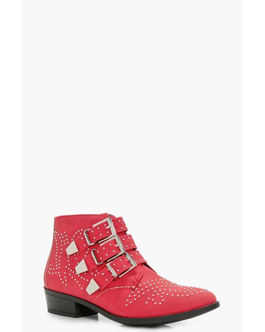 Boohoo - Red Kiki Pin Stud And Buckle Strap Ankle Boot - Lyst