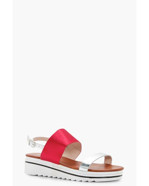 Boohoo | Red Amber Sports Cleated Sandal | Lyst