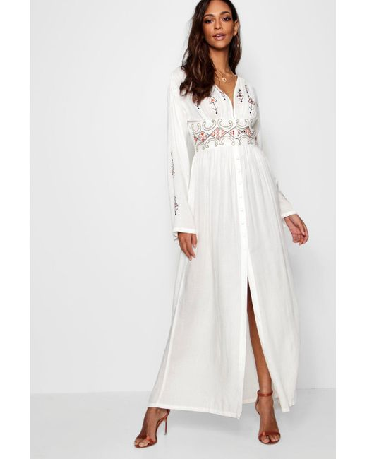 2bf745406a95 Boohoo - White Embroidered Button Through Maxi Dress - Lyst ...