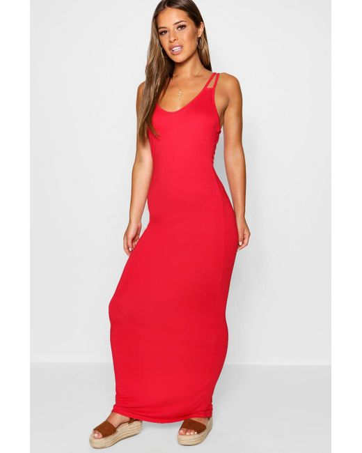 Boohoo - Red Petite Strappy Basic Maxi Dress - Lyst