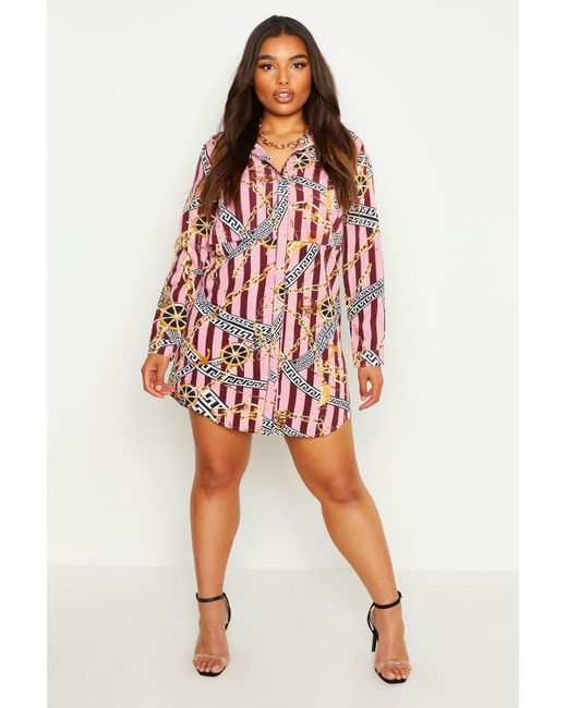 sale retailer latest collection the latest Women's Pink Plus Chain & Stripe Oversized Shirt Dress
