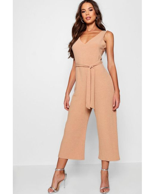 e46b1835ef0b Boohoo - Natural Tall Ribbed Culotte Jumpsuit - Lyst ...
