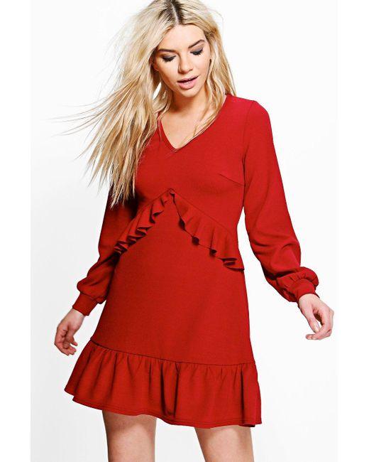 Boohoo | Red Jian Long Sleeve Ruffle Tea Dress | Lyst