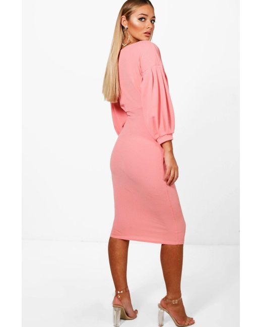 bb4afd165cad ... Boohoo - Pink Off The Shoulder Wrap Midi Bodycon Dress - Lyst