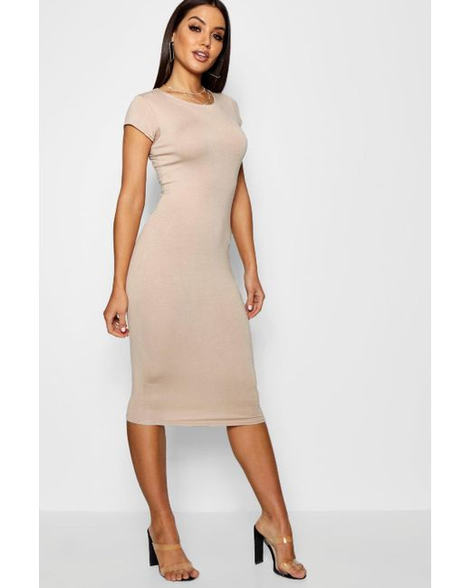 710bb359608ae Boohoo - Natural Cap Sleeve Jersey Bodycon Midi Dress - Lyst ...