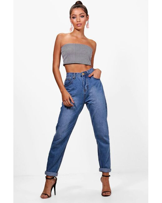 454ea70236 Boohoo - Blue High Rise Mid Wash Mom Jeans - Lyst ...