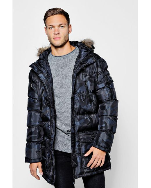 Boohoo Camo Padded Parka With Faux Fur Hood in Black for Men ...
