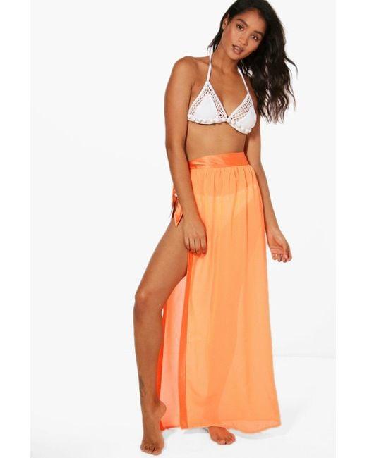 Boohoo | Orange Lena Satin Tie Beach Sarong | Lyst