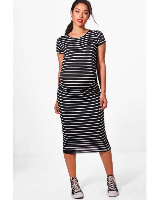 Boohoo   Black Maternity Clara Striped Cap Sleeve Midi Dress   Lyst