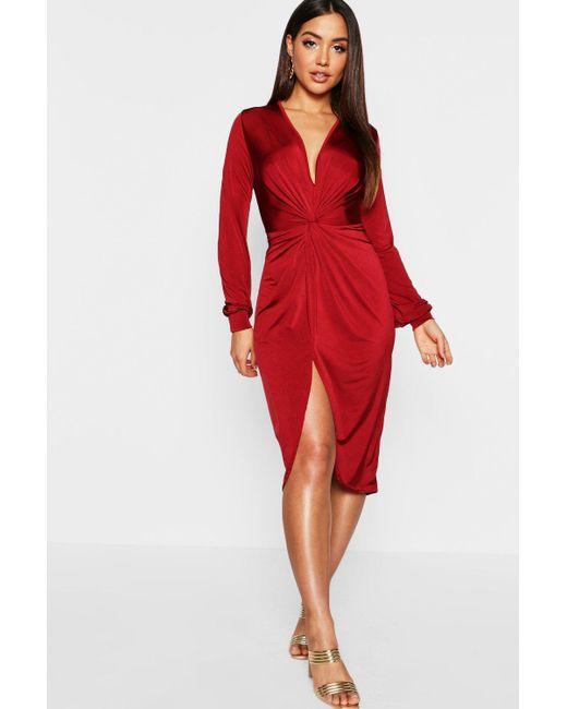 Boohoo Red Disco Slinky Twist Front Wrap Dress Lyst