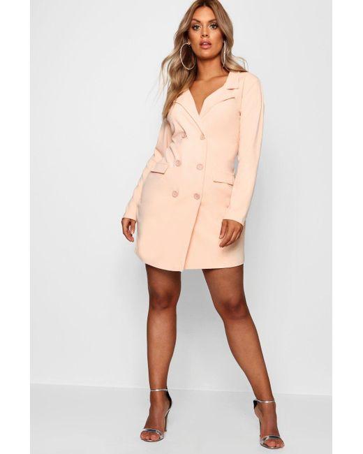Boohoo - Pink Plus Scuba Blazer Dress - Lyst