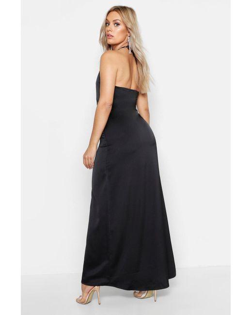 26e6756061e8 ... Boohoo - Black Plus Ruffle Side Maxi Dress - Lyst