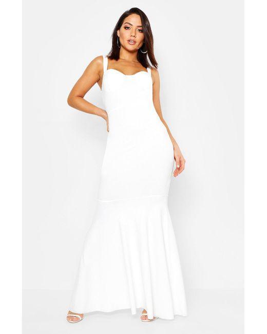 Boohoo - White Bustier Detail Fishtail Maxi Dress - Lyst