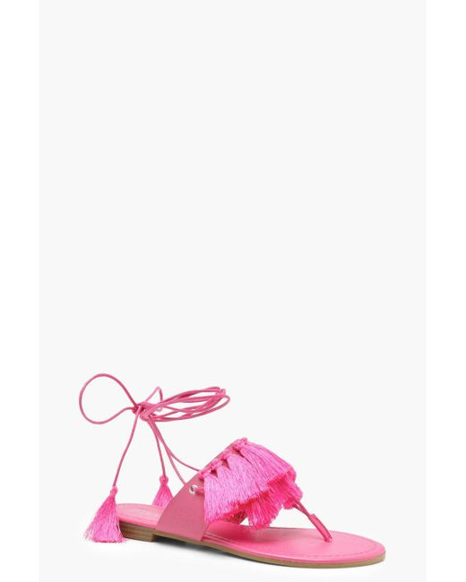 Boohoo - Pink Anna Fringe Trim Wrap Sandals - Lyst