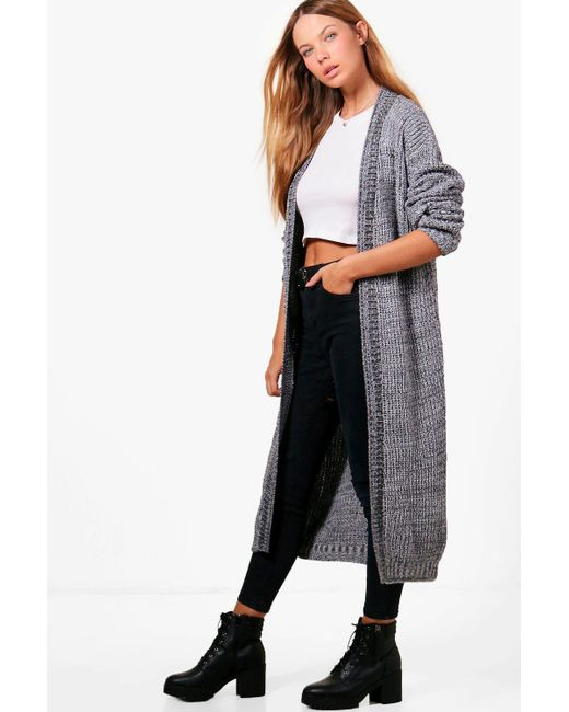 Boohoo Molly Marl Long Edge To Edge Maxi Cardigan in Gray | Lyst