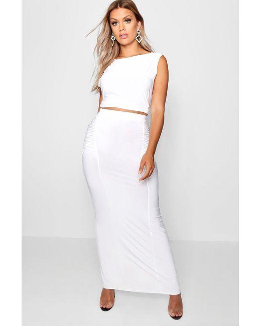436fe9c93 Boohoo - Multicolor Plus Slinky Maxi Skirt Co Ord - Lyst ...
