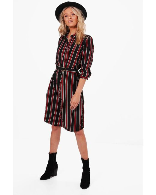 Boohoo   Black Tilly Stripe Buckle Shirt Dress   Lyst