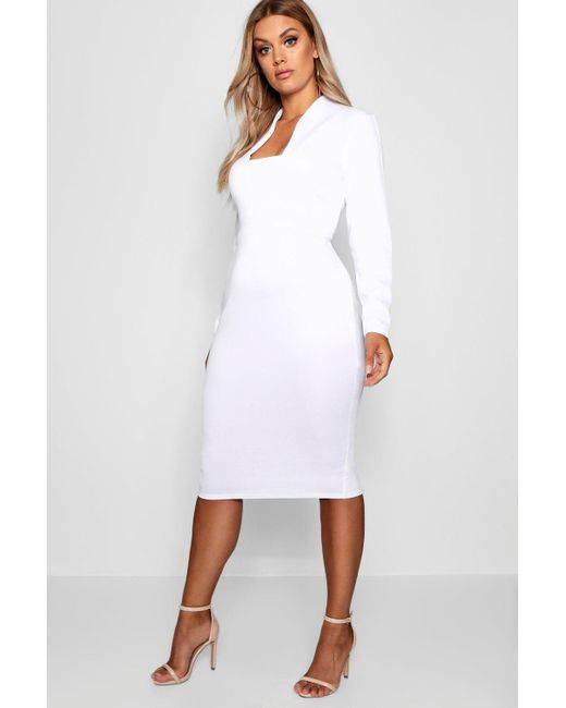 c6441e5be9b Boohoo - White Plus Plunge High Collar Midi Dress - Lyst ...