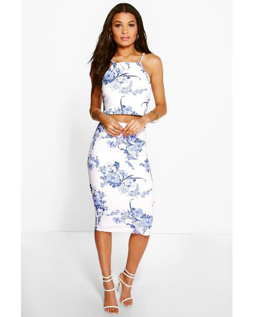 Boohoo - Blue Porcelain Print Top & Midi Skirt Co-ord Set - Lyst