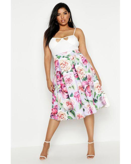 a612aa0c67 Boohoo - Multicolor Plus Scuba Floral Midi Skirt - Lyst ...