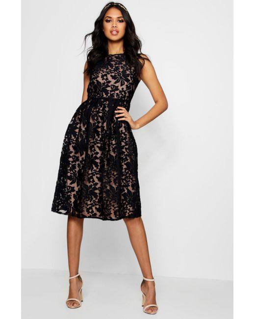 37569f8345a5 Boohoo - Black Boutique Embroidered Organza Skater Dress - Lyst ...