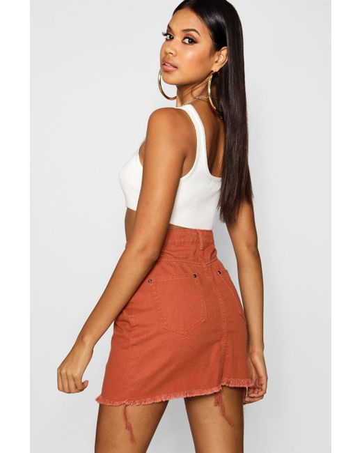 84f4dd92ab ... Boohoo - Multicolor Brick Denim Mini Skirt - Lyst ...