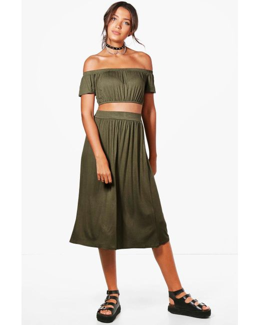 Boohoo   Green Tall Lily Off The Shoulder Top & Skirt Co-ord   Lyst
