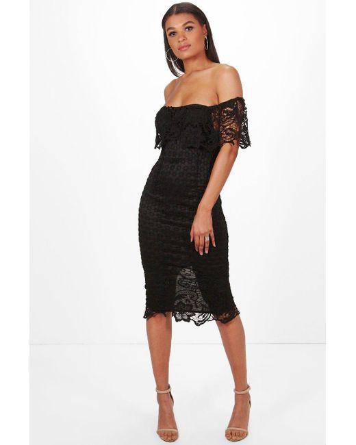 4ef6ad0f525b Boohoo - Black Boutique Lace Off Shoulder Midi Dress - Lyst ...