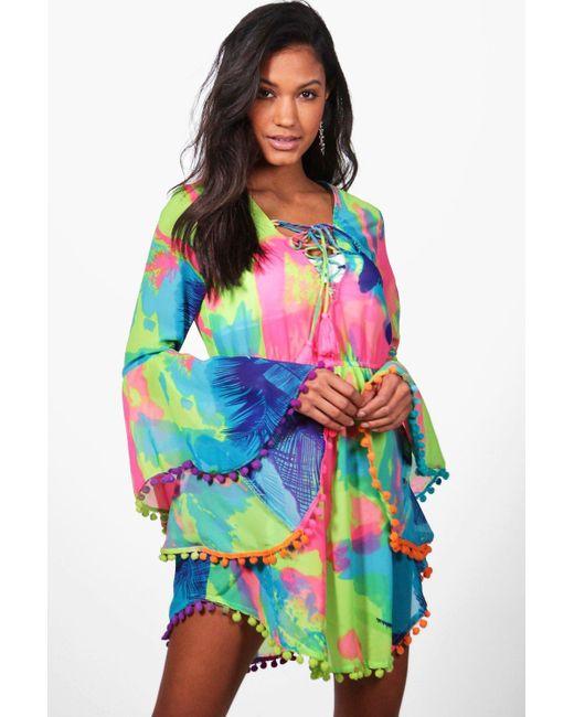 3da27e1c1d Boohoo - Multicolor Tropical Pom Pom Beach Dress - Lyst ...