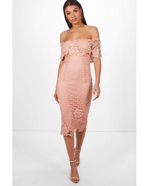 53b5f8128e78 Boohoo - Pink Boutique Lace Off Shoulder Midi Dress - Lyst ...