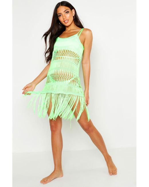 67a8e8a50b054 ... Boohoo - Multicolor Crochet Finged Beach Dress - Lyst