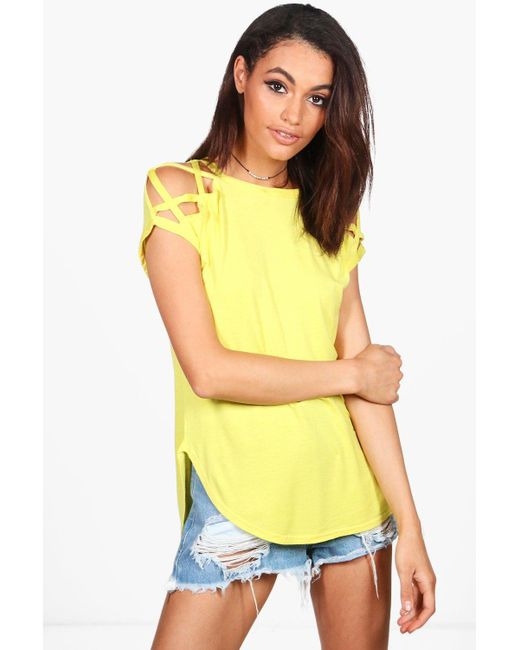 Boohoo | Yellow Megan Strappy Shoulder Detail T-shirt | Lyst