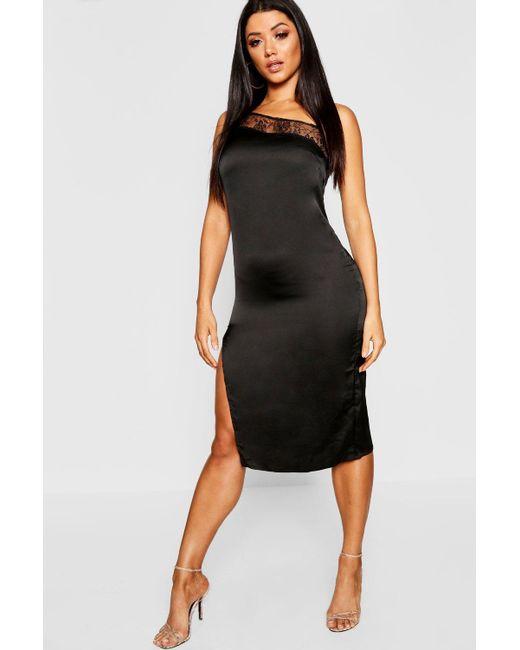 0b3a01574ed92 Boohoo - Black Lace Trim Satin Thigh Split Midi Dress - Lyst ...