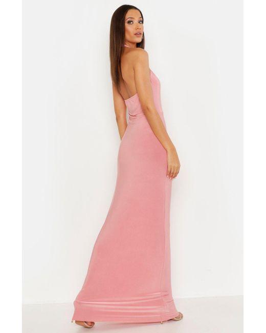 75d955c57edf ... Boohoo - White Tall High Neck Maxi Dress - Lyst