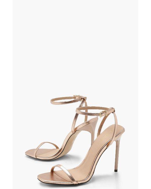 ae4d6f77894 Lyst - Boohoo Metallic Square Toe Heels in Metallic