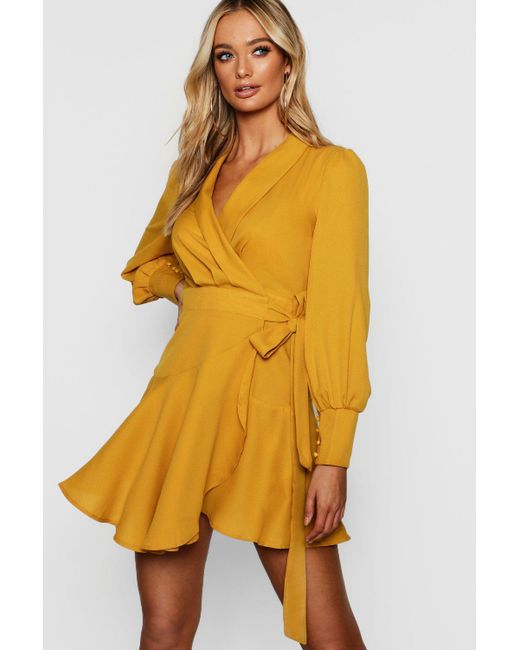 0d1c4dfcf5 Boohoo - Yellow Wrap Front Flared Skirt Shirt Dress - Lyst ...