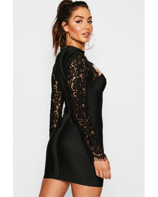 c71207602316 ... Boohoo - Black Lace Top High Neck Bandage Bodycon Dress - Lyst
