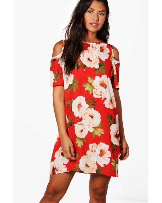 Boohoo | Red Tilly Cold Shoulder Floral Shift Dress | Lyst