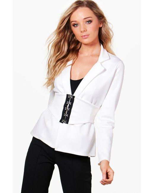 Boohoo | White Kareena Corset Belt Tailored Blazer | Lyst