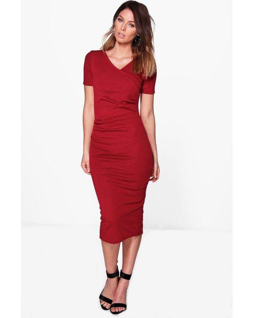 Boohoo | Red Olivia Wrap Ruched Midi Dress | Lyst