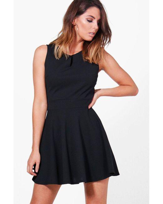 Boohoo | Black Freya Notch Neck Woven Skater Dress | Lyst