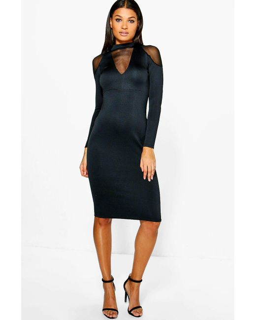 Boohoo | Black Fi Mesh Cold Shoulder Detail Plunge Midi Dress | Lyst