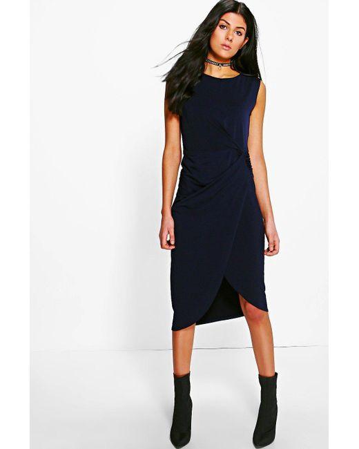 Boohoo   Blue Lexi Drape Midi Dress   Lyst