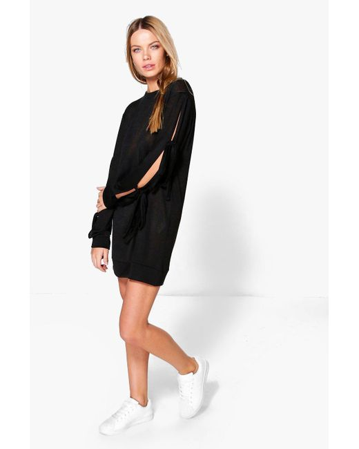 Boohoo | Black Vera Tie Sleeve Sweat Dress | Lyst