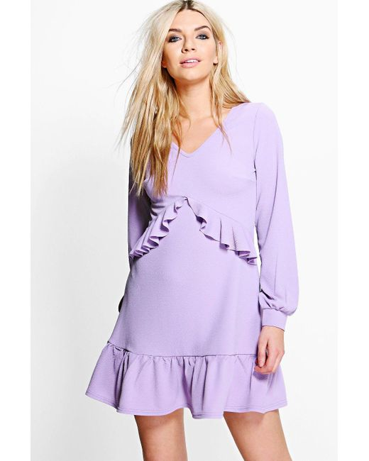 Boohoo   Purple Jian Long Sleeve Ruffle Tea Dress   Lyst