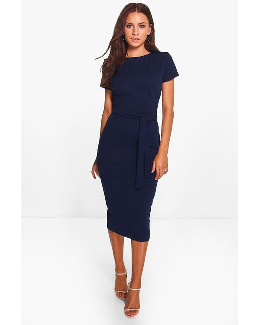 Boohoo Eva Pleat Front Belted Tailored Midi Dress in Blue ...